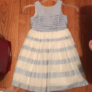 Jacadi 4Y beautiful blue and white striped dress